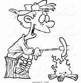 Campfire Outline Coloring Cartoon Weenie Roasting Boy Toonaday sketch template