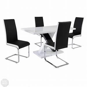 Stuhl Weiß Chrom : tischgruppe xenia jane tisch mdf schwarz wei hochglanz stuhl schwarz wei chrom ebay ~ Indierocktalk.com Haus und Dekorationen