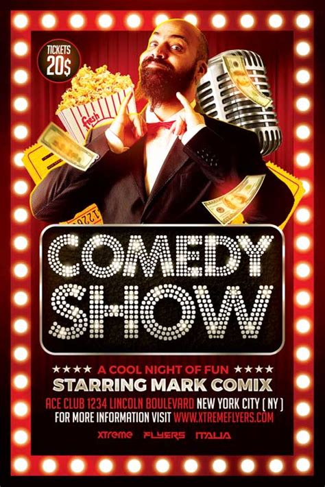 comedy template poster comedy show flyer template xtremeflyers