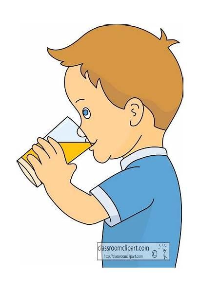 Clip Drinking Drink Juice Clipart Boy Drinks