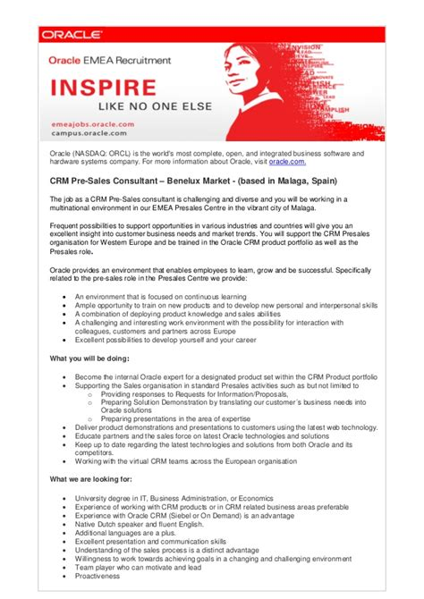 Pre Sales Consultant Resume by Crm Pre Sales Consultant Benelux 2013