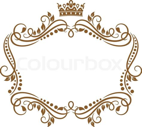 retro frame with royal crown and flowers for wedding or heraldry design stock vector colourbox