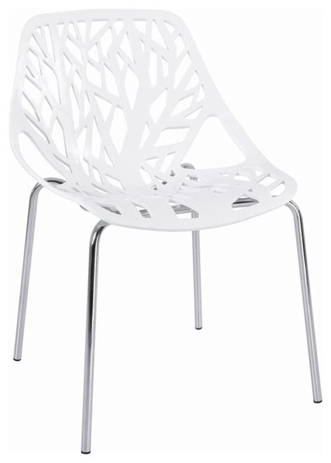 tree cutout dining chair white plastic modern dining