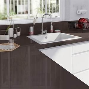Plan De Travail 300 Cm : plan de travail stratifi brun chocolat 1 brillant x ~ Premium-room.com Idées de Décoration