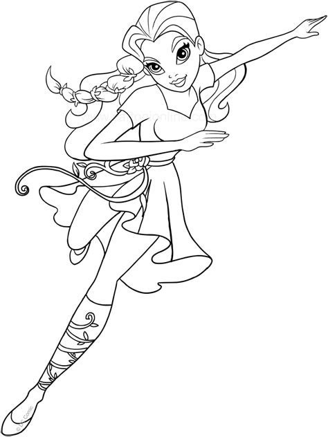 poison ivy dc superhero girls coloring page