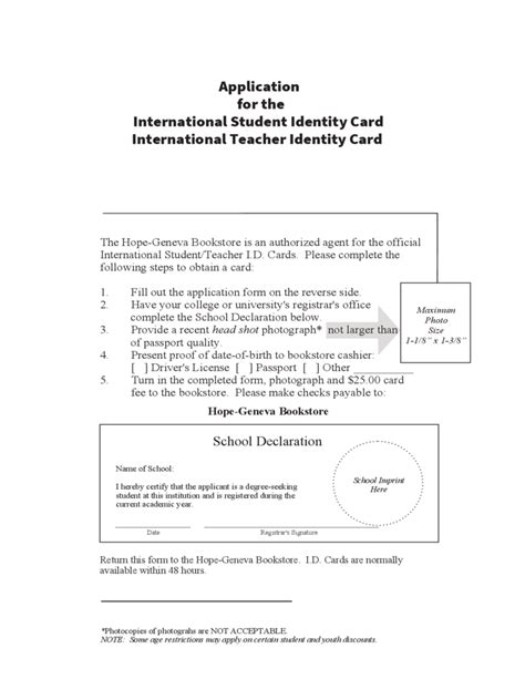 student identity card application form   templates