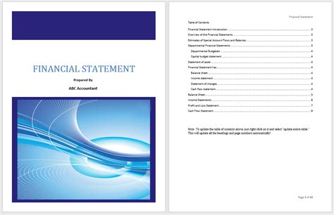 financial statement template microsoft word templates