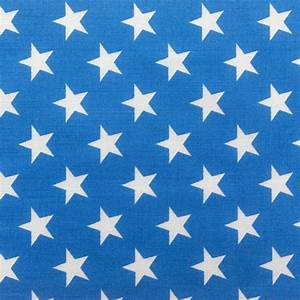Poly Cotton Print White Stars on Blue Background 60