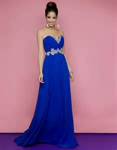 Royal Blue and Gold Prom Dress