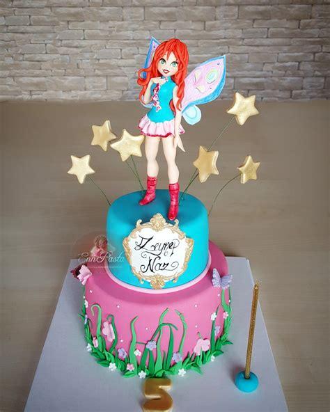 Winx Club Bloom Cake Fondant Doğum günü Kurabiye