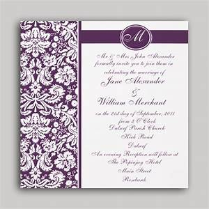 Stirring damask wedding invitations theruntimecom for Damask wedding invitations template free