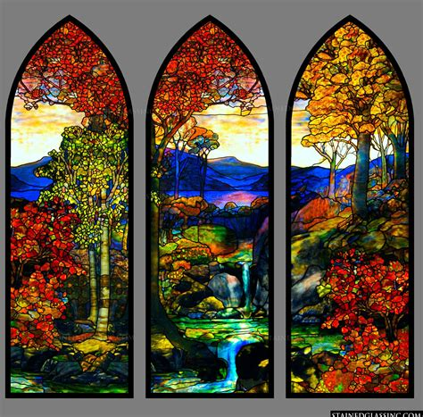 tiffany stained glass l quot tiffany fall landscape quot stained glass window