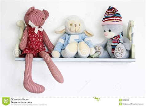 cute toys  shelf royalty  stock  image