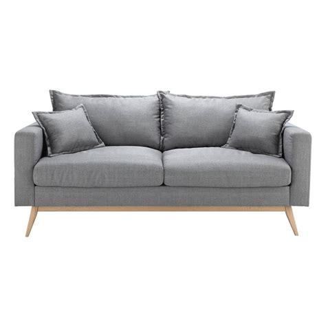 canapé gris clair canapé 3 places en tissu gris clair duke maisons du monde
