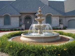 Large estate fountain mediterranean landscape for Fountain outdoor large