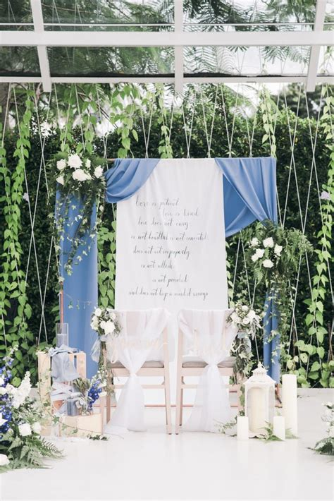 dusty blue winter theme wedding  le conte decor
