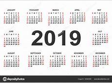 Plantilla de diseño de vectores de año calendario 2019