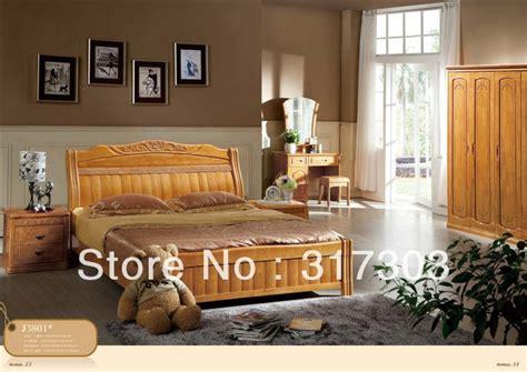 factory wholesale solid oak wood bed modern design bedroom furniture solid wood bed