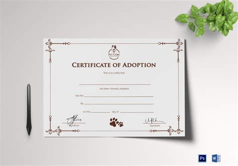 Adoption Certificate Template