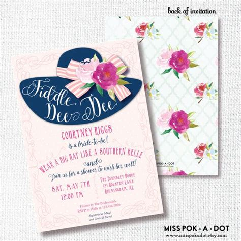 Wearing A Hat After Shower by Fiddle Big Hat Bridal Shower Invitation By