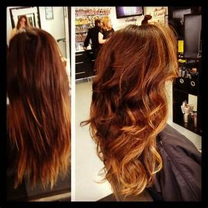 Copper brown with caramel highlights brilliant brunettes
