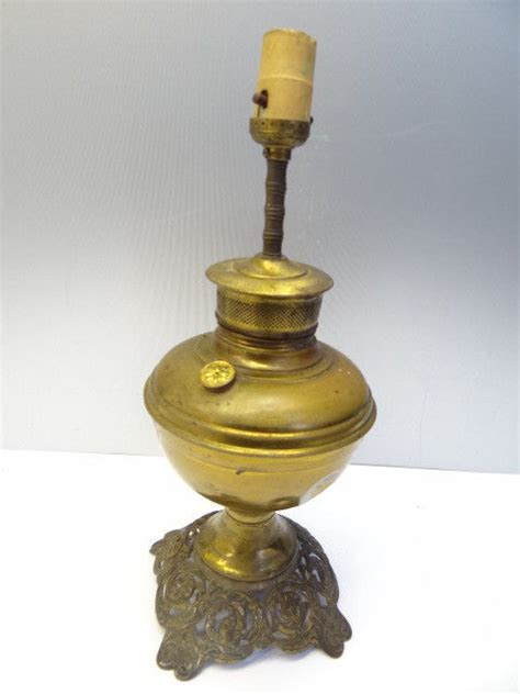 Antique Old Used Metal Brass Ornate Converted Electric