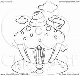 Coloring Outline Cupcake Clip Royalty Illustration Bnp Studio Clipart Rf Background 2021 sketch template