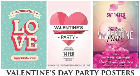 happy valentines day party poster  petals