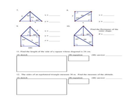 Special Right Triangles Homework 9th  12th Grade Worksheet  Lesson Planet