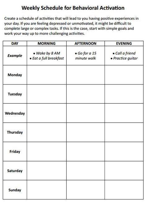 weekly schedule  behavioral activation worksheet