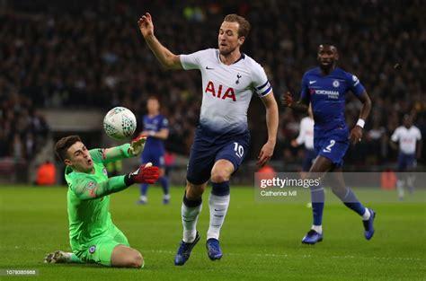 Harry Kane of Tottenham Hotspur is fouled by Kepa ...