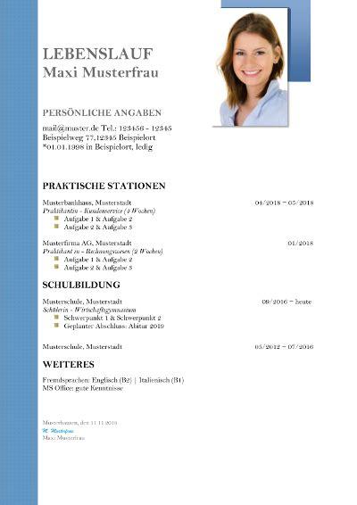 Lebenslauf Muster Für Schüler by Lebenslauf Vorlagen F 252 R Sch 252 Ler Kostenlose Muster Zum