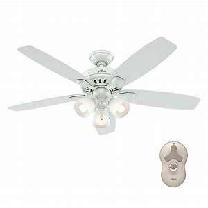 Hunter ceiling fan light kit white : Hunter highbury in indoor white ceiling fan with light