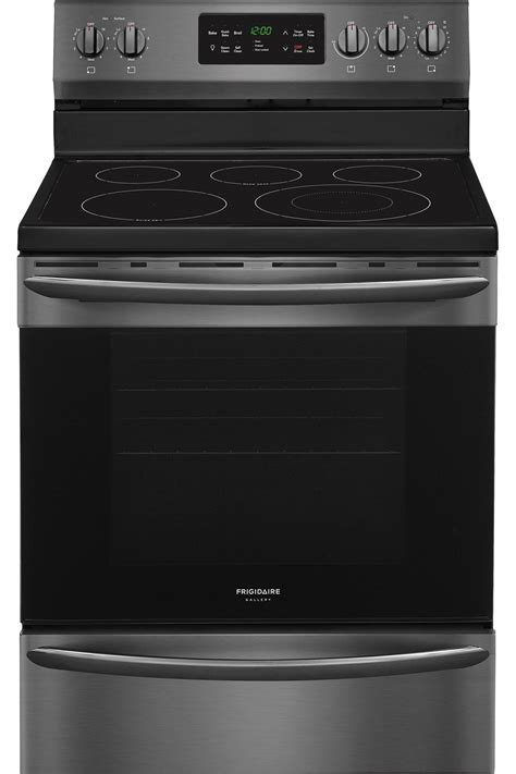frigidaire gallery black stainless electric range fgeftd