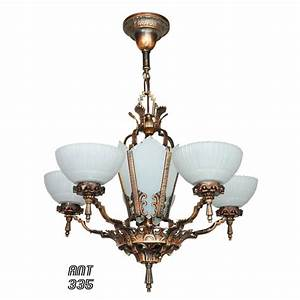 Antique restored red bronzed finished art deco chandelier
