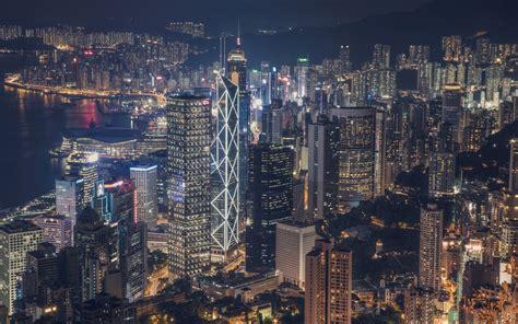 hong kong city cityscape skyscraper night lights