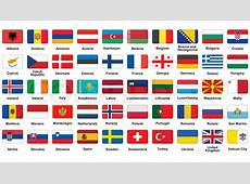 Set of European flags icons with rounded corners Stock