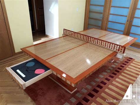 custom ping pong table custom oak and padauk ping pong table furniture