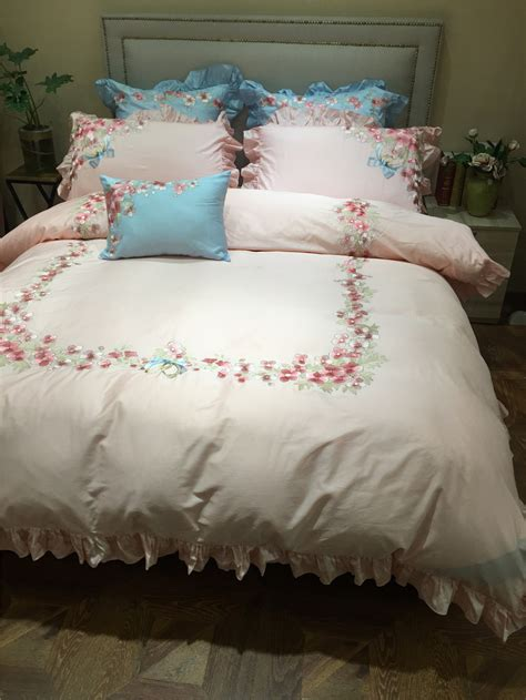 4pcs 100% Cotton Luxury Embroidery Bedding Sets Full Queen