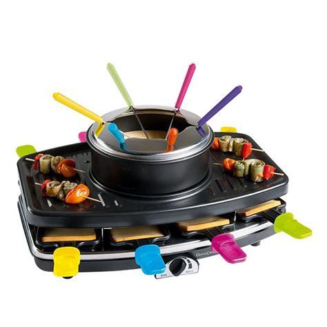 appareil cuisine conviviale appareil 3 en 1 raclette grill fondue domoclip