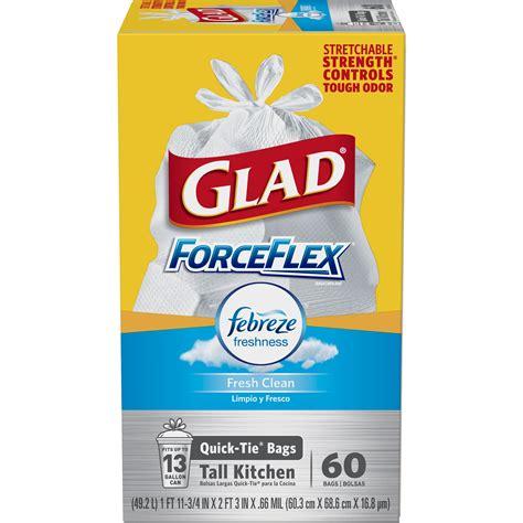 glad forceflex odorshield tall kitchen quick tie trash
