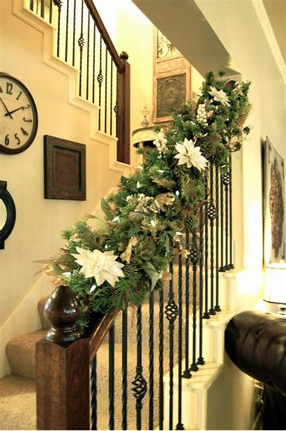 Christmas Staircase Decor Decoration Decorations Decorate Stairs