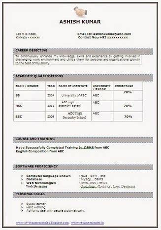 fresher resume sample career scoop
