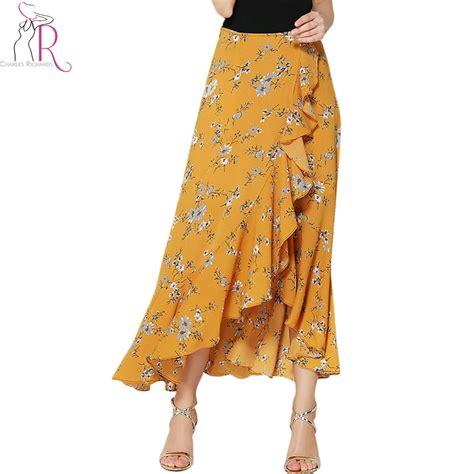 ruffle maxi skirt yellow floral print ruffle asymmetric wrap maxi