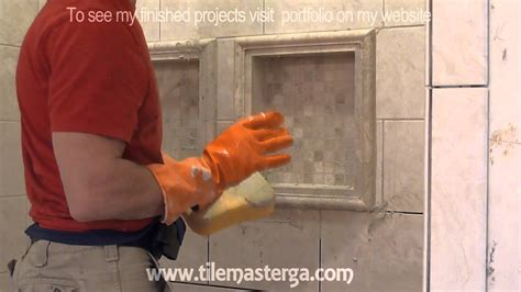 tiled shower shelf ideas part quot 6 quot how to apply grout on shower wall tiles diy
