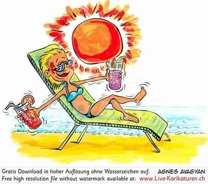 Sonne Sommer Clipart Karikaturen Sonnenschein Liegestuhl Comic