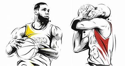 Lebron Jordan Michael James Nba Cartoon Kobe