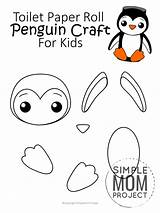 Penguin Toilet Printable Paper Roll Template Craft Templates Project Simple Mom Toddlers Preschoolers sketch template