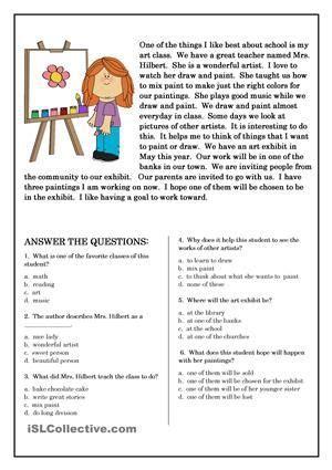 esl reading comprehension worksheets page