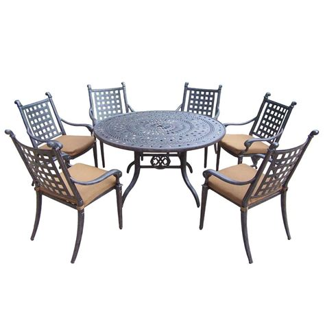oakland living belmont 54 in 7 piece round patio dining